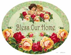 Vintage BLESS Our HOME Sign Digital Collage Sheet by GalleryCat