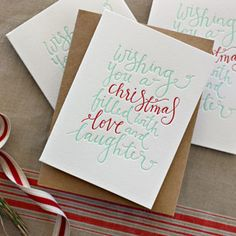 Letterpress Christmas Greeting Card - Wishing you a Christmas filled with love and laughter