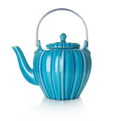 RANGOON - Théière en céramique - émail turquoise - 4 tasses
