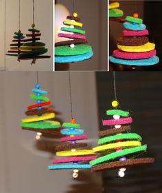 In der Adventszeit wird jetzt auch hier gebastelt. Meine Tochter ist deutlich bastelbegeisterter als mein Sohn, aber er hat sich nach einer ... Ceramic Christmas Trees, Textiles, Felt Crafts, Crafts For Kids, Holiday Decor, Cake, Creative, Diy Baby, Anton