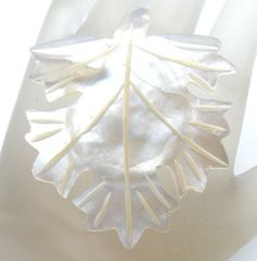 Hand Carved Leaf Brooch Bethlehem Mother of Pearl MOP Vintage Pin | eBay