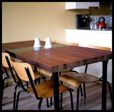 DIY/Repurposed  ::  Dining Table Made from a Reclaimed Door ( link :: http://www.instructables.com/id/Dining-Table-Made-from-a-Reclaimed-Door/# : )