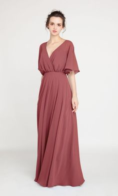 V-Neck Sleeved Long Bridesmaid Dress with Open Back Bridesmaid Dresses With Sleeves, Affordable Bridesmaid Dresses, Bridesmaid Dress Colors, Wedding Bridesmaid Dresses, Bridesmaids, Bridesmaid Ideas, Plus Size Gowns, Bridal Gowns, Size 2
