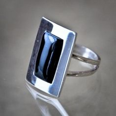 Silver and jet ring handmade. Artcraft of The Way of Saint James. Tax free $44.90