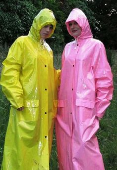 Two girls in yellow and pink pvc macs