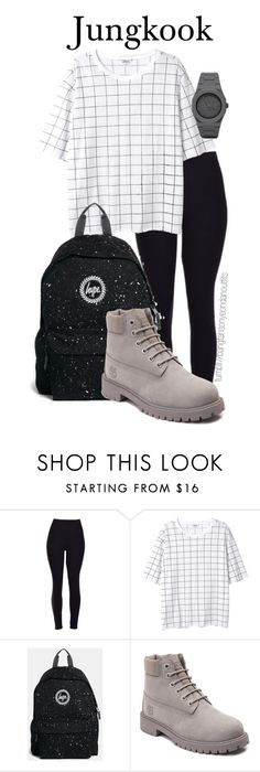 """""""BTS school inspired JUNGKOOK"""" by bangtanoutfits ❤ liked on Polyvore featuring Mode, Monki, Hype, Timberland, CC, kpop, bts, BangtanBoys und jungkook"""