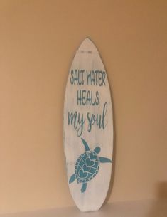 Surfboard sign – wooden summer signs – beach house signs – sea turtle signs – saltwater sign – beach lovers gift – gift for mom – Beach House Decor Beach House Signs, Home Signs, Beach House Decor, Home Decor, Wooden Surfboard, Summer Signs, Beach Cottage Style, Nautical Home, Interior Design Tips