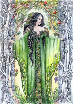 Yavanna, the Queen of the Earth Inspired by the Silmarillion (J. R. R. Tolkien). - watercolours painting + pencil drawing WIP - If you like my art, you can buy some of my original paintings, prints...