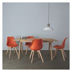 JERRY Dining set with oak extending table and 4 orange chairs