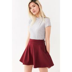 Cooperative Penelope Mini Skater Skirt ($49) ❤ liked on Polyvore featuring skirts, mini skirts, skater skirts, circle skirt, red flared skirt, cotton skirts and red flare skirt