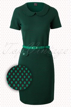 Wow To Go! - 60s Retro Root A-Line Dress in Green