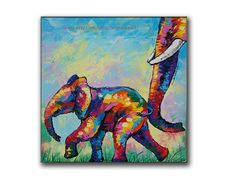 Colorful Elephant Painting67x67cmacrylic on canvas