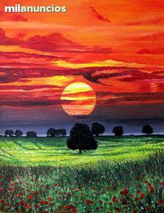 """Magia en un amanecer en plena naturaleza.  """"Magia en  los árboles (salida del sol )"""", de Pere Oller Oliveras. 2012. óleo sobre tela.65 x 50 cm. Se vende."""