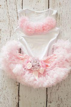 Girls first birthday Outfit - Pink Skirt -  Embellished pink pettiskirt - petti top set - Baby Pettiskirt Outfit-pettiskirt- tutu via Etsy