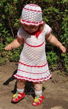 Robe rouge et blanche pour fillettes de 2 ans et ses grilles gratuites !  - Modèles pour Bébé au Crochet