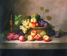 el envío libre de las uvas melocotón clásica fruta hojas fijas impresiones de la lona de pintura al óleo de vida en la lona de la decoración de imagen (China (continental))