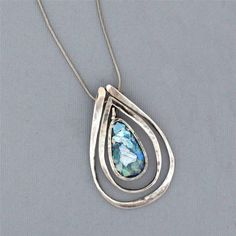 "Roman Glass Pendant Necklace with 16"" Sterling Silver Chain Oxidized Teardrop #RomanGlassCompany #Chain"