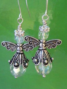 Crystal Angel Earrings: Swarovski Crystal by BeadingAddiction Angel Earrings, Diy Earrings, Chandelier Earrings, Earrings Handmade, Diamond Earrings, Wire Jewelry, Jewelry Crafts, Beaded Jewelry, Dainty Jewelry