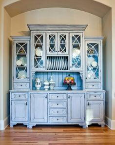 For glass door design Custom China Hutch - traditional - kitchen - charleston - Hostetler Custom Cabinetry Decor, Furniture, Interior, Redo Furniture, Painted Furniture, Home Furniture, Home Decor, Country Kitchen Designs, Old World Kitchens