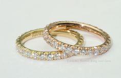 18k Yellow and Rose gold eternity band with French cut set diamnds. #diamond #gold #rosegold #eternityband #weddingband #wedding #vintage #vintageinspired #BRAG #bostonringandgem #BRAGOfficial #bridal #bridaljewelry #weddingjewelry #jewlery