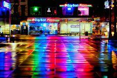 Rainy Plaza Reflections (Color)