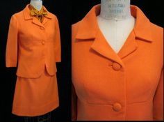 Vintage 60s MOD SUIT Bright Orange Beautiful by Cuckoochenille