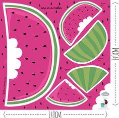 One in a melon - by Dana Stoffregen. Ein meloniges Nähset. Nicht klein, sondern groß! Nicht Gemüse, sondern Obst! Nicht gewöhnlich, sondern bla! Jetzt auf Stoff bei www.Stoff-Schmie.de