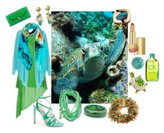 """""""The endangered Sea Turtle and the waters it lives in transposed into fashion"""" by sharee64 ❤ liked on Polyvore featuring Acne Studios, Fenn Wright Manson, Weston Scarves, Palm Beach Jewelry, Blu Bijoux, Stuart Weitzman, Rosantica, Deborah Lippmann, L'Oréal Paris and Calvin Klein"""
