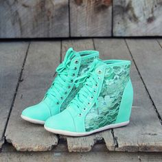 Mint Lace Wedge Sneakers...