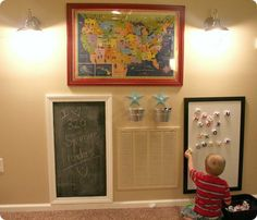 playroom ideas- eisle w interchangeable boards (chalk, magnetic, dry erase)