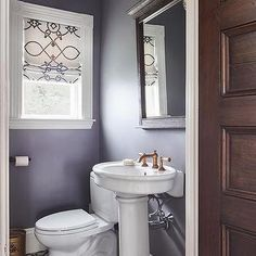 Purple Moroccan Powder Room with Black and White Cement Tiles