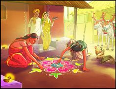 Illustration for Diwali Greeting, Shiv Kumar Swami Diwali Festival Drawing, Diwali Drawing, Diwali Gods, Diwali Painting, Festival Paint, Diwali Wallpaper, Doodle On Photo, Composition Painting, Rajasthani Art