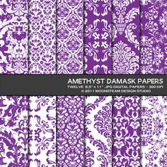 Purple Damask Digital Paper Scrapbooking Backgrounds Printable Amethyst Commercial Use 8.5x11 12x12 A4. $4.95, via Etsy.