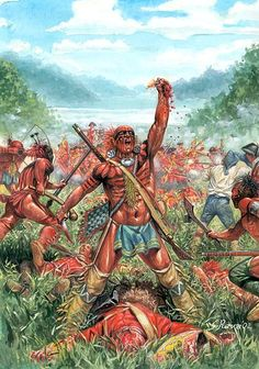 Huron warrior holds up the heart of a British Grenadier, French and Indian War by Giuseppe Rava.