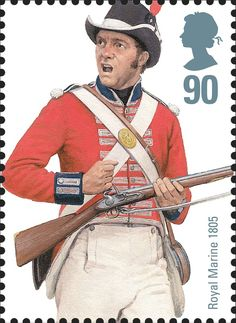 Postage stamp issued by Royal Mail in 2009 Navy Military, Military Art, Military History, Military Fashion, Uk Stamps, Postage Stamps, Navy Uniforms, Military Uniforms, British Uniforms