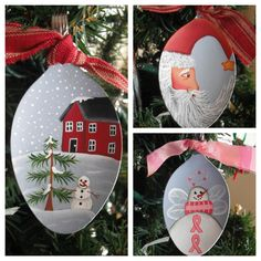 Been busy designing more new spoon ornaments. I have an entire collection of breast cancer ornaments made out of lightbulbs but never made . Spoon Ornaments, Painted Ornaments, Christmas Tree Ornaments, Christmas Decorations, Christmas Projects, Holiday Crafts, Holiday Fun, Winter Christmas, Christmas Holidays