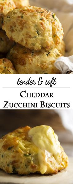 Zucchini cheddar biscuits are soft, tender and full of shredded zucchini and…