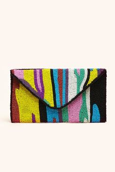 """Amazing beaded envelope clutch featuring a colorful zebra stripe print. Foldover flap with snap closure. Fully lined interior with pocket. Looks rad worn with a crop top and maxi skirt!     *Shell: Glass/Metal Blend; Lining: 100% Cotton  *9.75"""" width  *5.75"""" height  *5"""" depth  *Imported   34.00"""