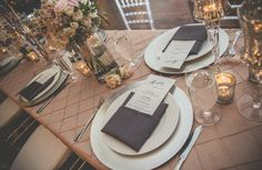 Whim Blush pintuck linens, Whim abergine napkins, Euro flatware and silver chiavari chairs. Photo by http://autryphotography.com/ . #whimjoy