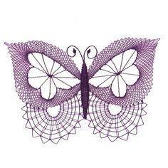 Paličkovaná dekorace - motýl Irish Crochet, Crochet Lace, Free Crochet, Crochet Butterfly, Butterfly Art, Bobbin Lacemaking, Bobbin Lace Patterns, Lace Heart, Point Lace