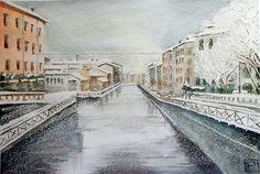 """""""Naviglio Grande"""" acquerello di Lorenza Pasquali 35x51"""