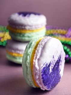 Mardi Gras Macarons --> http://www.hgtv.com/entertaining/mardi-gras-macarons-recipe/index.html?soc=pinterest