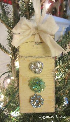 Vintage Earring & Salvaged Wood Ornament www.organizedclutterqueen.blogspot.com