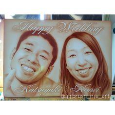 welcome bord!! Happy Wedding✨  #wedding#happy#illust#happywedding#airbrush#airbrushart#airbrushpaint#portrait#エアブラシ#エアーブラシ#スプレーアート#似顔絵#ウェルカムボード#結婚式#セピア
