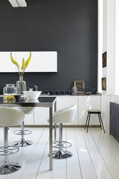 White Kitchen with black walls | The Little Greene Paint Company