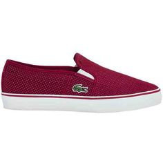Lacoste Women's Gazon Slip On 116 ($72) ❤ liked on Polyvore featuring shoes, apparel & accessories shoes, dark red, croco shoes, breathable shoes, canvas shoes, crocs footwear and pull on shoes