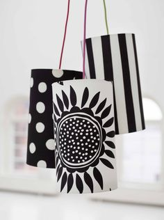 Gudrun Sjödéns Winterkollektion 2014 - Die Lampenschirme mit Sonnenblumen, Punkten und Streifen in grafischem Schwarz-Weiß oder fröhlich bunt, sind neu in unseren Läden.