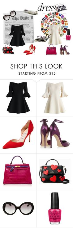"""DRESS"" by susibonvi ❤ liked on Polyvore featuring Chicwish, Manolo Blahnik, Brian Atwood, Hermès, Kate Spade, Prada and OPI"