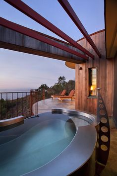 A hot tub with a view at the Post Ranch Inn in Big Sur, California