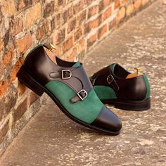 Green Leather, Calf Leather, Hot Shoes, Men's Shoes, Goodyear Welt, Black Box, Luxury Shoes, Custom Shoes, Loafers Men